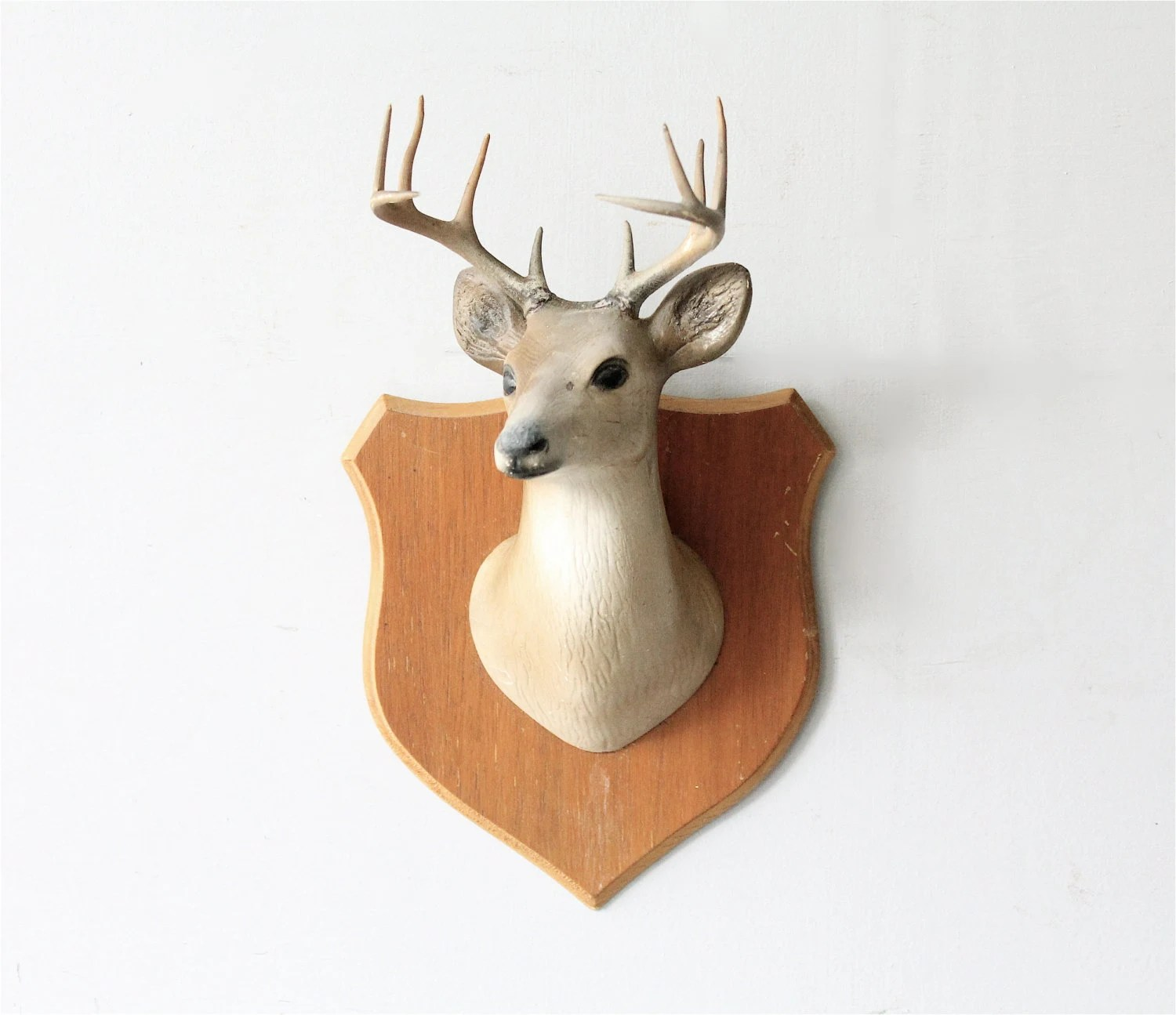 Fake Taxidermy Deer Head Vintage Mounted Faux Deer Head Taxidermy By Lovintagefinds