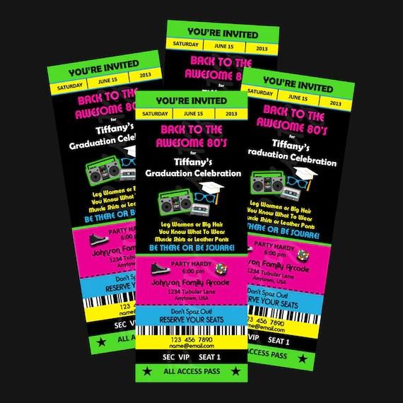 Printable - 80\u0027s Graduation Party - Ticket Invitations Custom - party ticket invitations