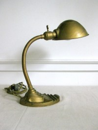 Vintage Gooseneck Lamp Gold Desk Lamp Art Deco Lamp Marked