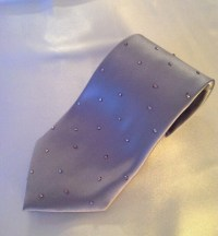 Metallic Silver Satin Bedazzled Neck Tie With by jeweltrinkets