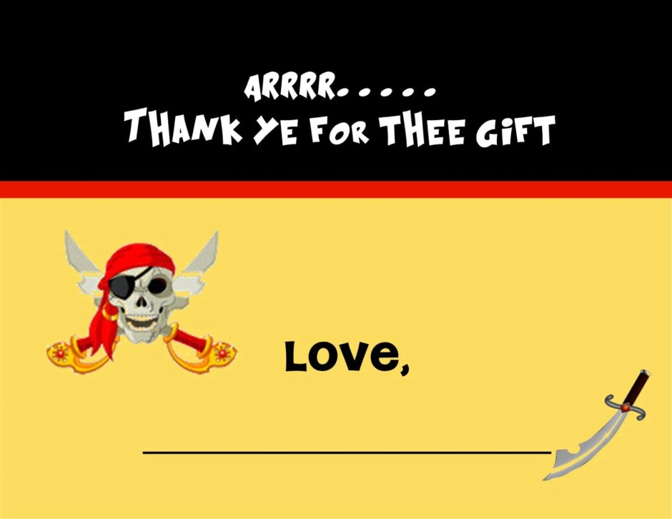 Pirate thank you notes, C...