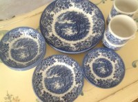Beautiful Blue And White English Tableware Set Churchill