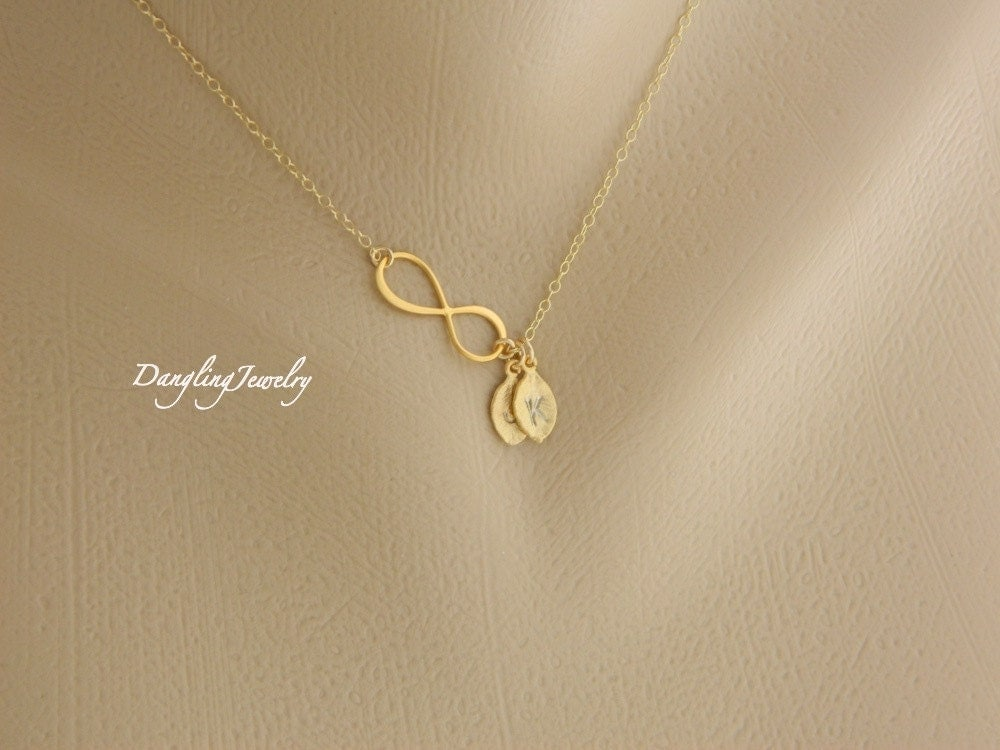 Two Initial Necklace Infinity Necklace Personalized Eternity