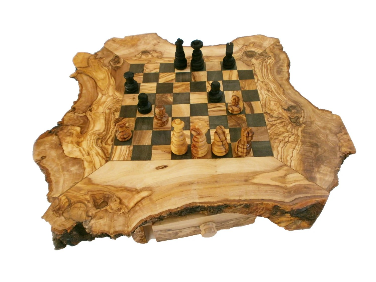 Personalized Chess Set Gift Christmas Gift Sale Unique Olive Wood Natural Edges Chess