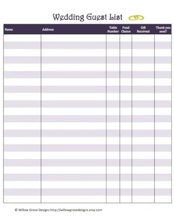 printable wedding guest list - sample wedding guest list