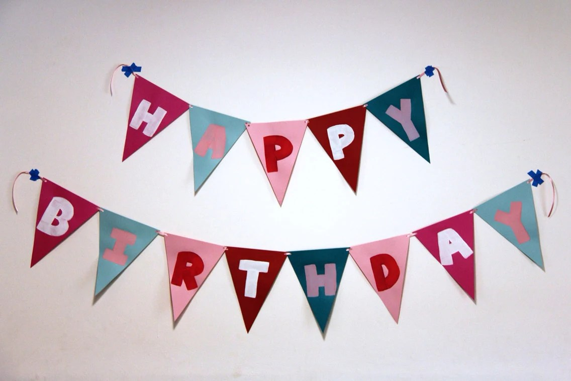 Items similar to Hand Painted Happy Birthday Flag Banner on Etsy