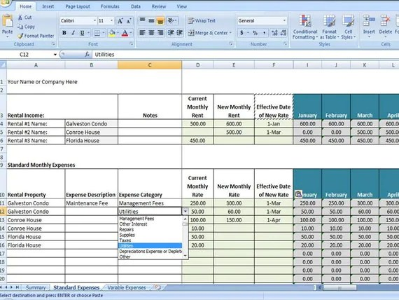 Vacation Rental Income and Expense Tracking Template Short - expense tracking template
