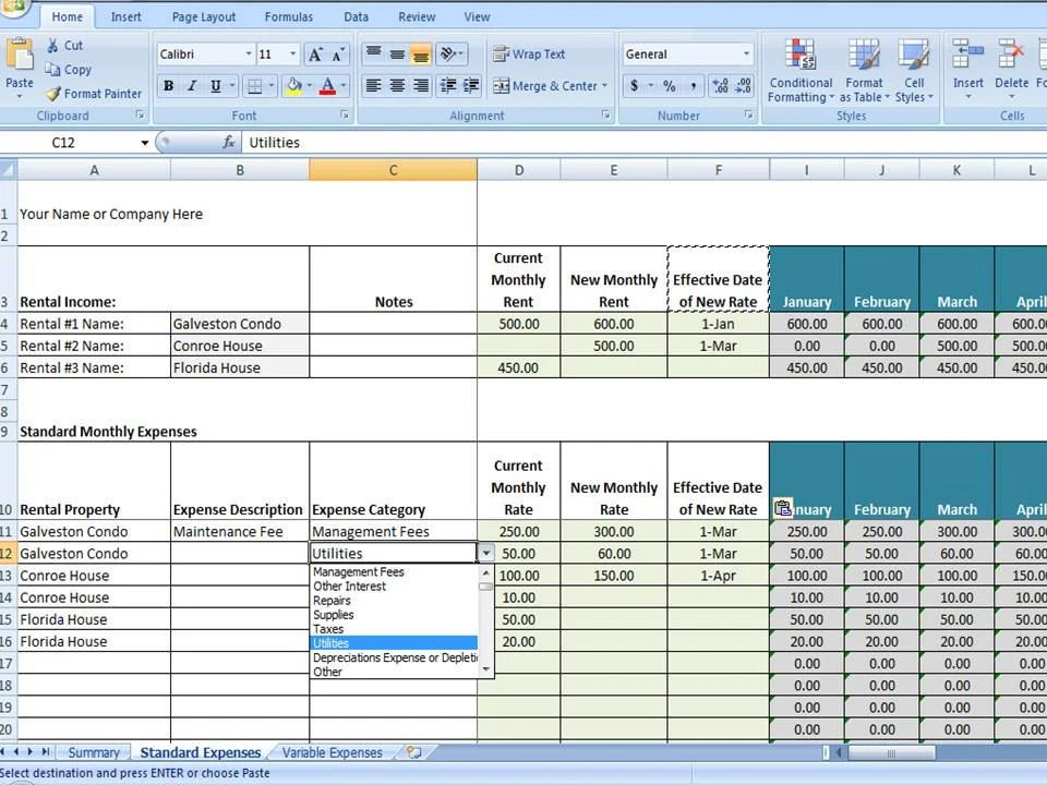 property management excel template free