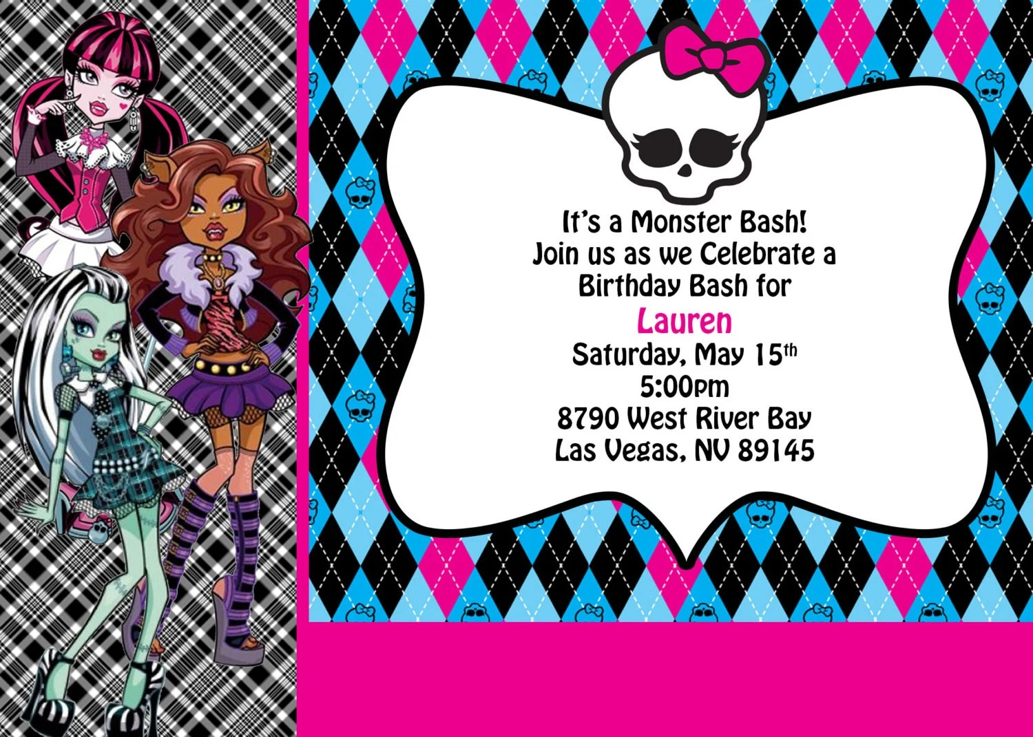 Items Similar To Monster High Personalized Printable