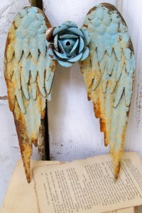Metal angel wings wall sculpture shabby chic rusty blue
