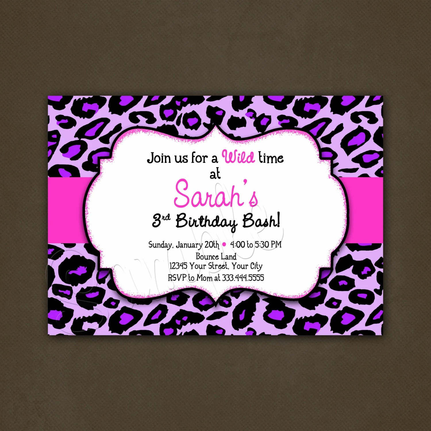 Purple Leopard Animal Print Birthday Invitation Printable