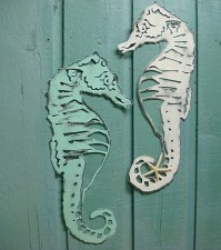 Seahorse Sign Metal Wall Art Beach House Decor