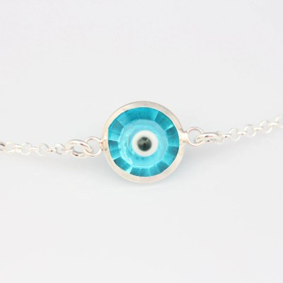 Sterling Silver Evil Eye Necklace Protection by LifeOfSilver