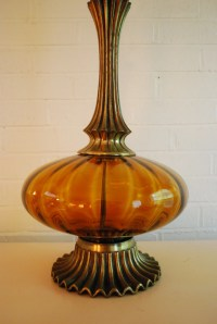Vintage Amber Colored Glass Tall Aladin Lamp by