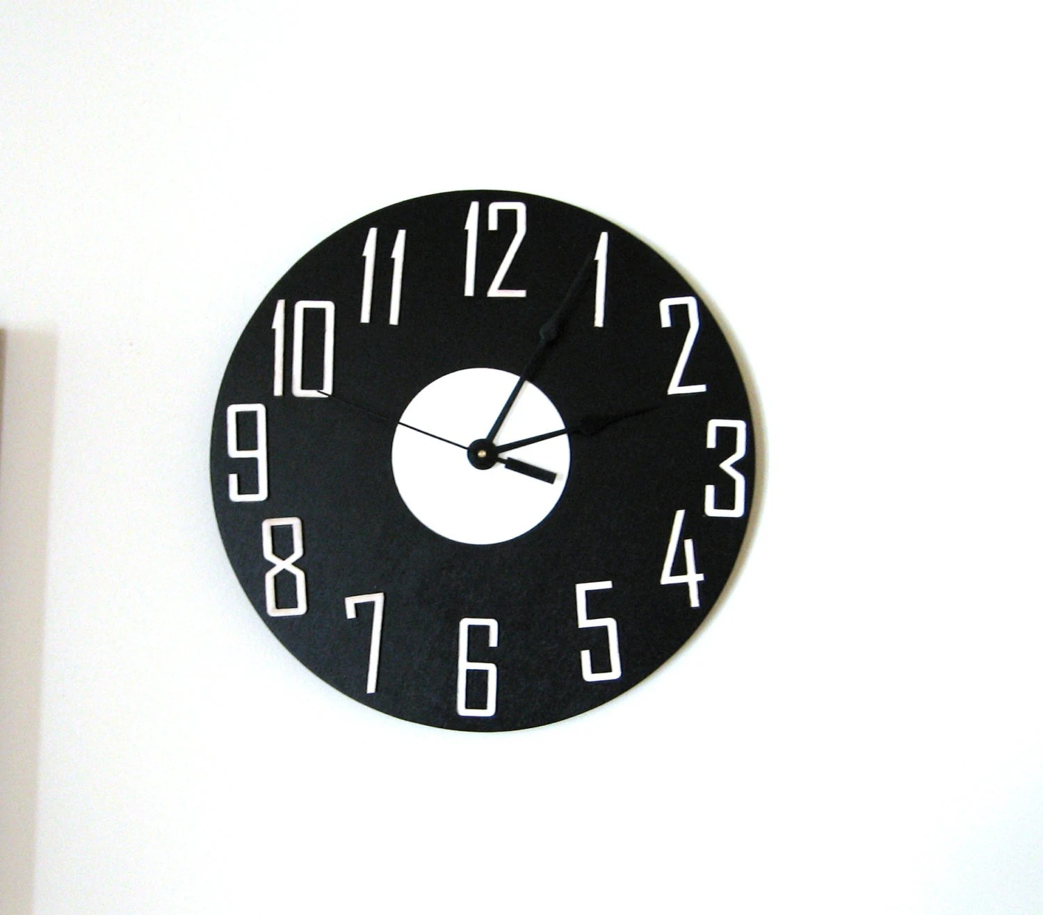 Black Modern Wall Clock Modern Wall Clock Wall Decor Black White Wall Clock