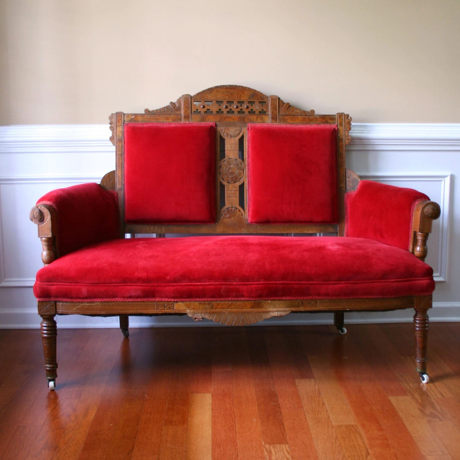 Antike Sofas & Loveseats Vintage Eastlake Sofa Antique Settee Love Seat Red Couch