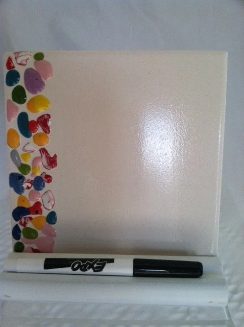 Memo Board Ceramic Tile Dry Erase Message Board With Stand And Marker