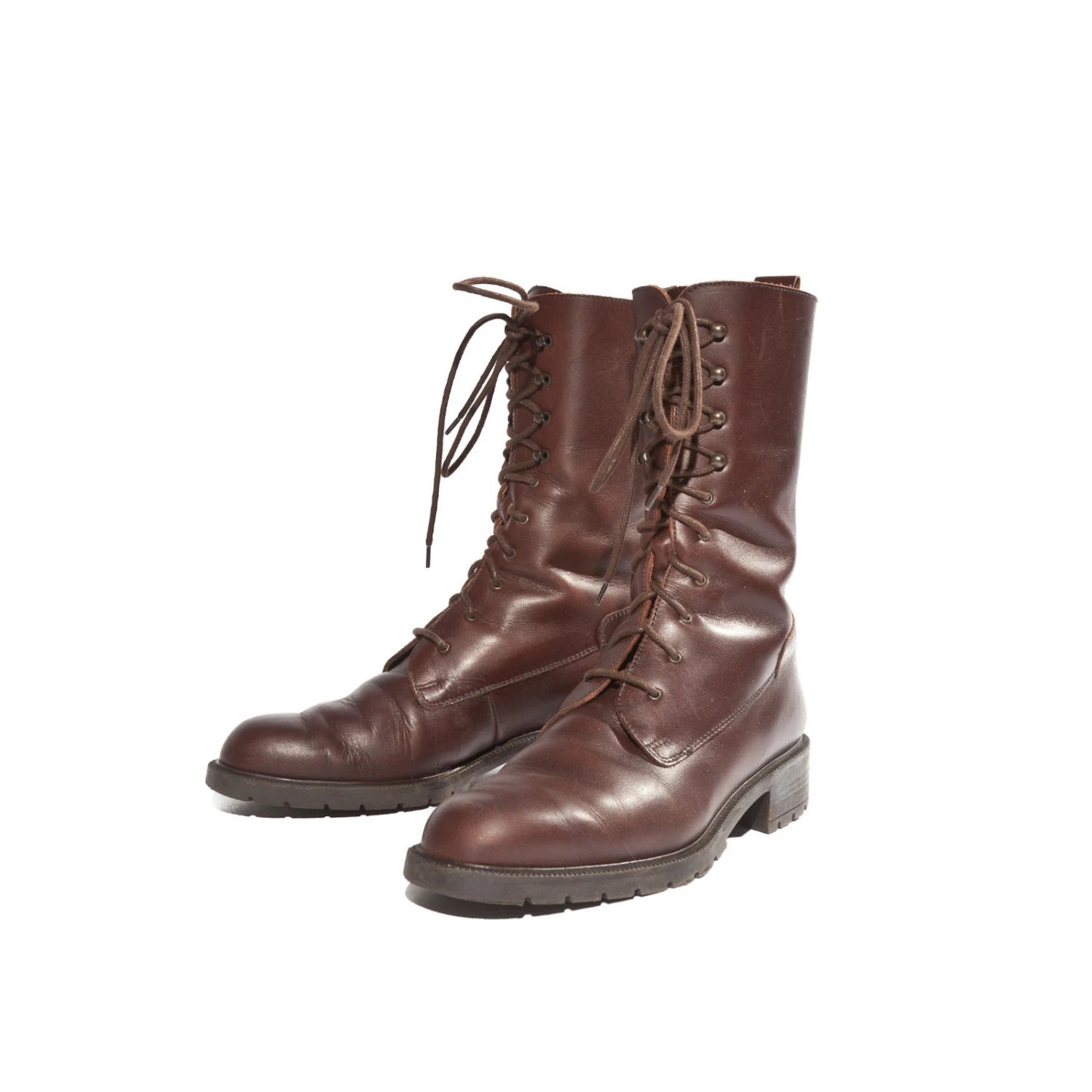 Eddie Bauer Chestnut Brown Leather Lace Up Ankle Boots By