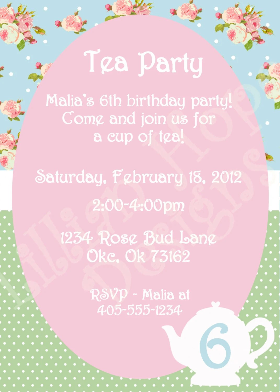 Vintage Tea Party Invitation Girls Shabby Chic Birthday - tea party invitation
