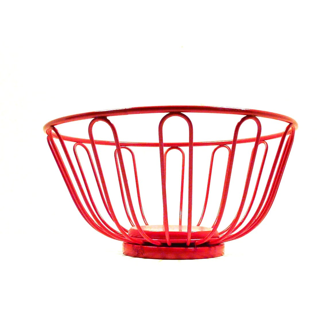 Metal Fruit Bowl Red Wire Basket Retro Decor Kitchen Fruit Bowl Baskets By