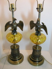 SALE Table Lamps Pair Vintage Brass Eagle & Amber Glass