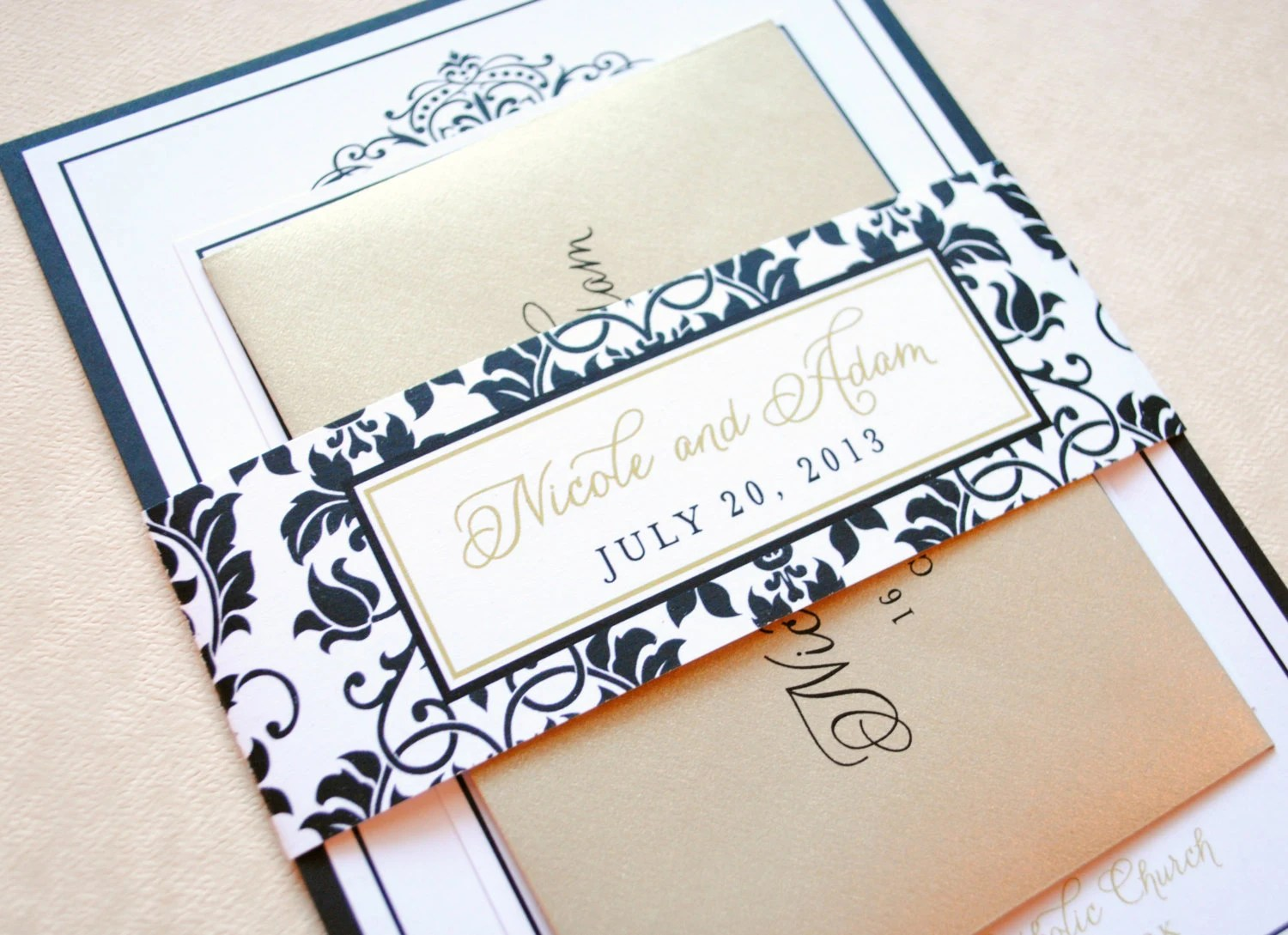 black and gold invitations gold wedding elegant wedding invitations Elegant Wedding Invitations Black and Gold zoom