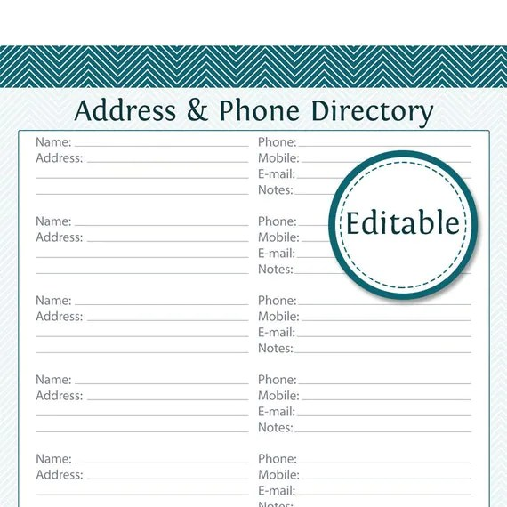 Address  Phone Directory Fillable Printable PDF Instant - phone directory template word