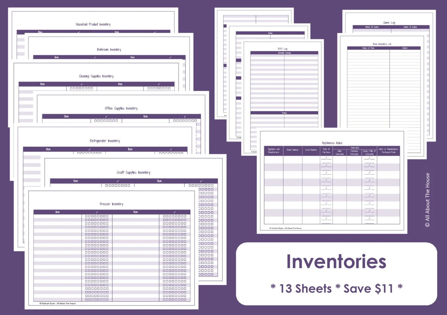 Home Inventory Printables Home Organisation Household - inventory sheets printable