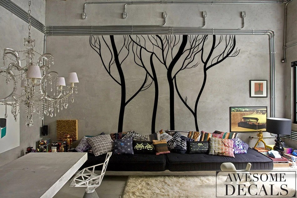 Winter Tree Wall Decals Living Room Wall Decal Custom Wall - large wall decals for living room
