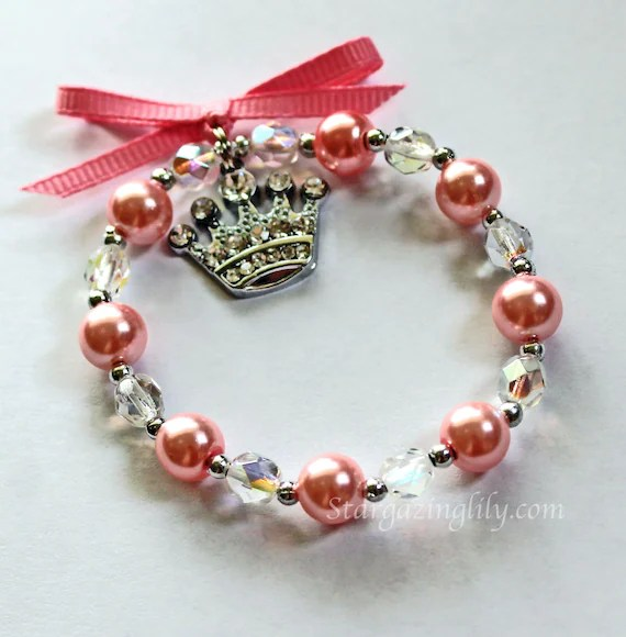 Pink Pearl And Crystal Bracelet For Little Girls Rhinestone