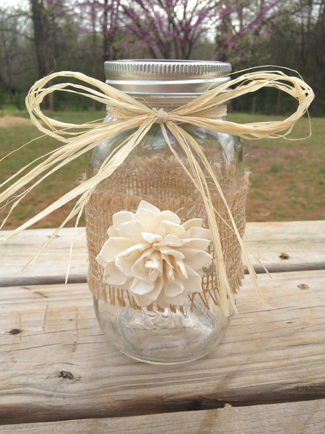 Shabby Chic Shop Shabby Chic Rustic Wrapped Mason Jar Rustic By Countrybarnbabe