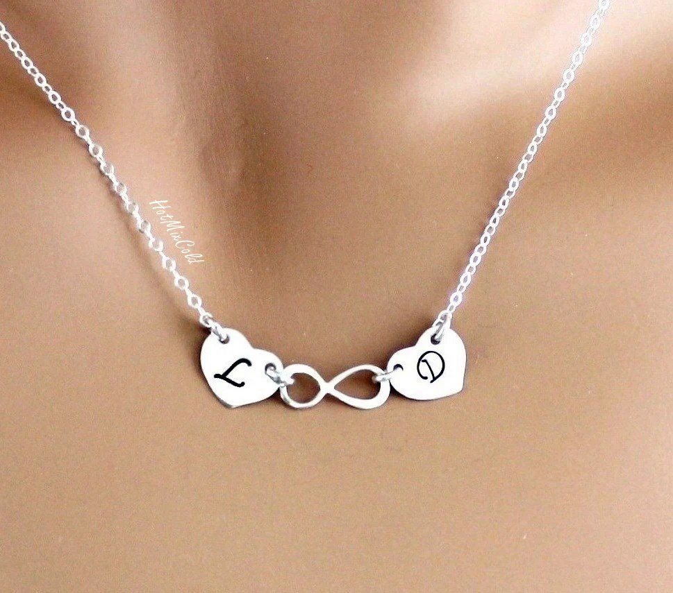 Two Initial And Infinity Necklace Gold Or Silver Monogram Two