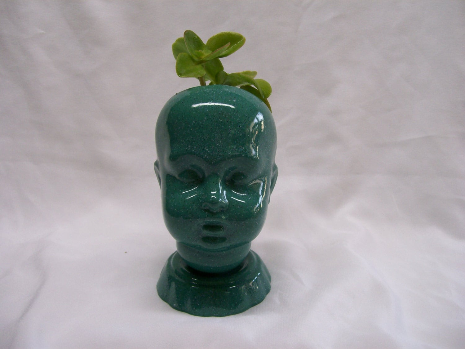 Ceramic Head Planter Ceramic Doll Head Planter Teal Speckled Glaze By Heamarkat