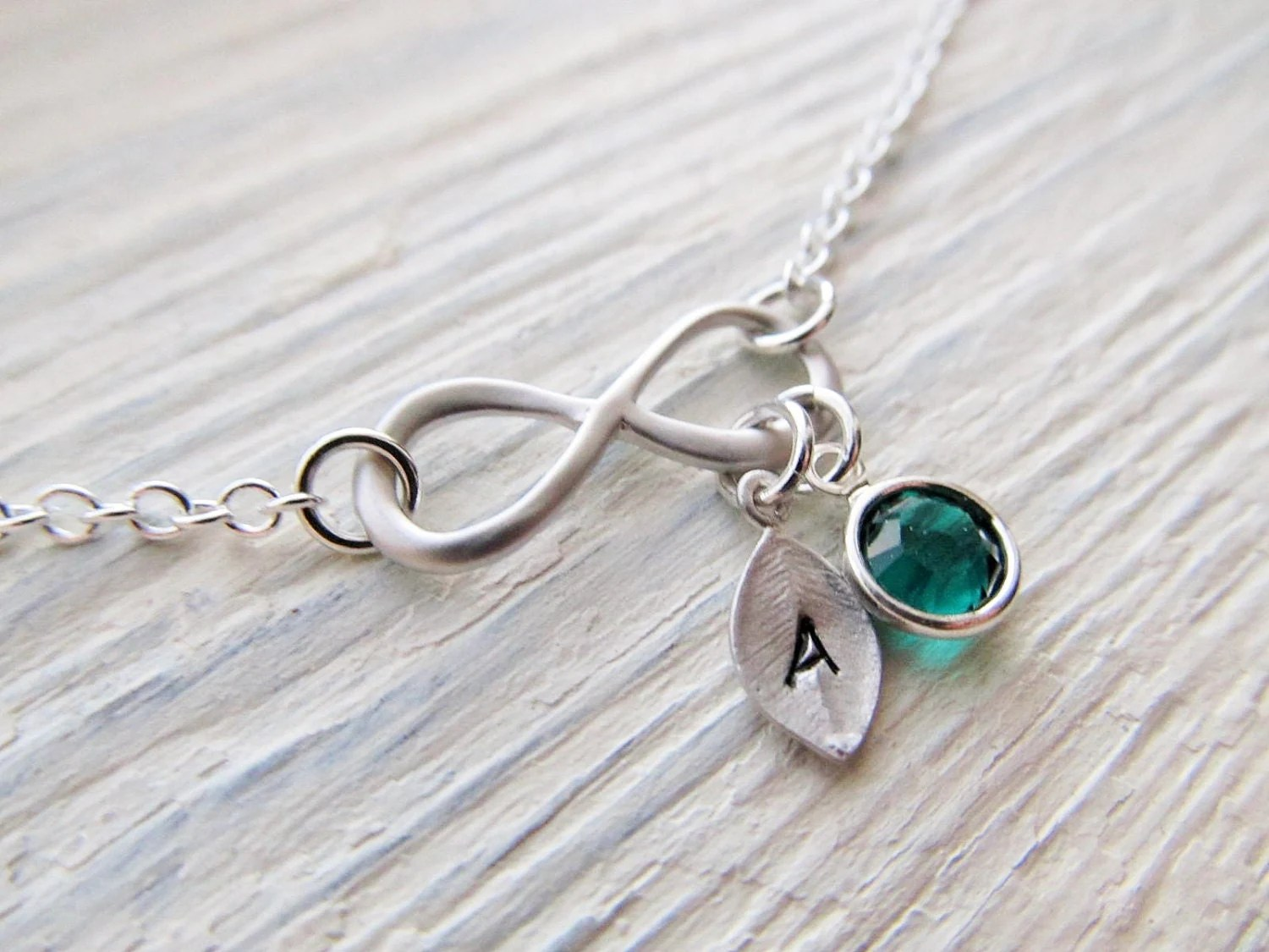 Infinity Necklace With Initial And Birthstone Birthstone