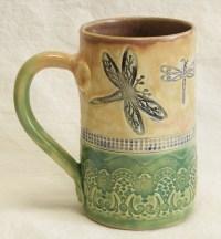 ceramic dragonfly coffee mug 16oz stoneware 16C002