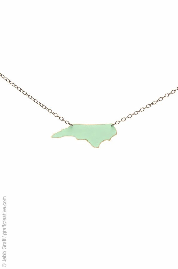 North Carolina Necklace, Mint Green - North Carolina Home, NC necklace // handmade in NC by Bevan Designs