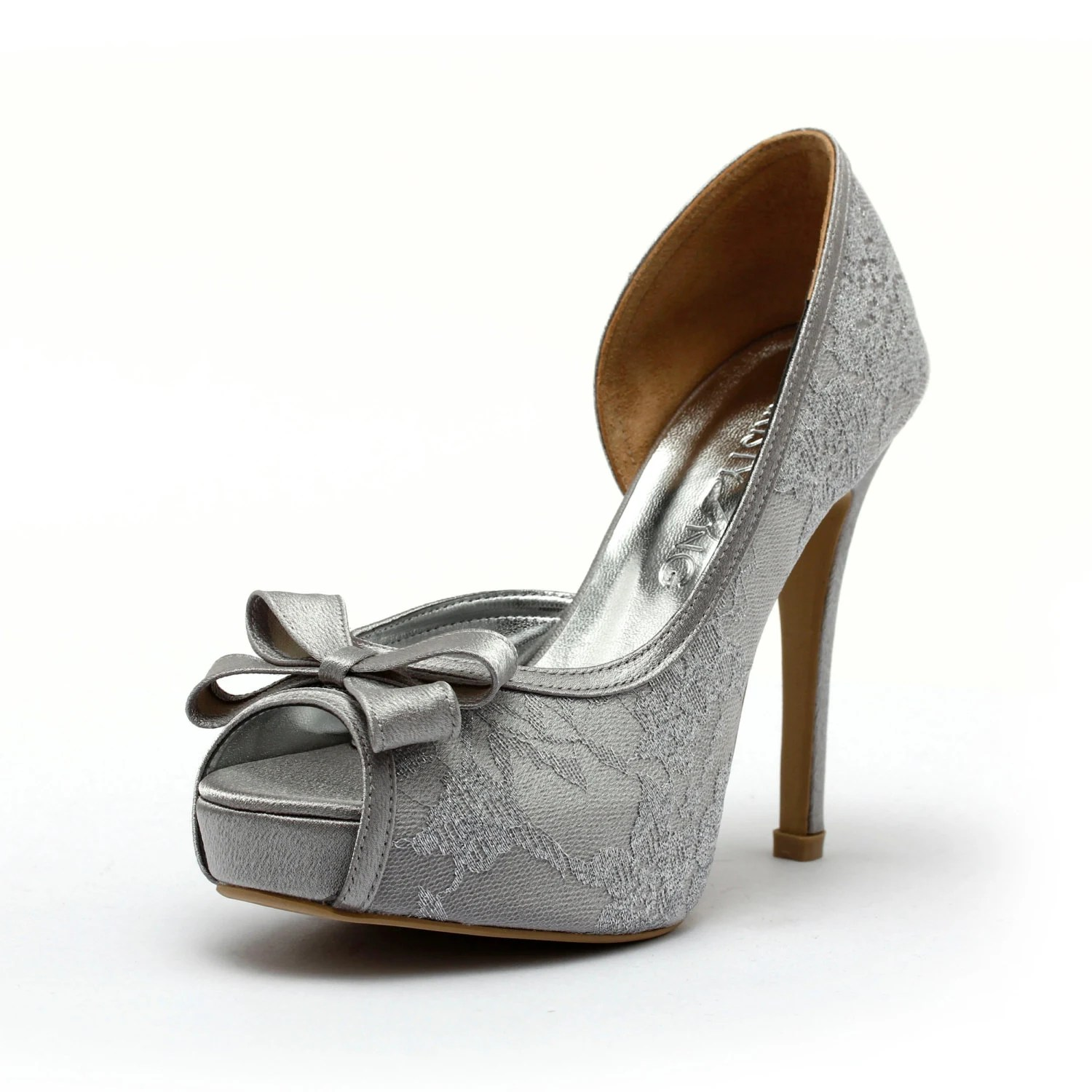 silver heels for wedding Silver Lace Heels