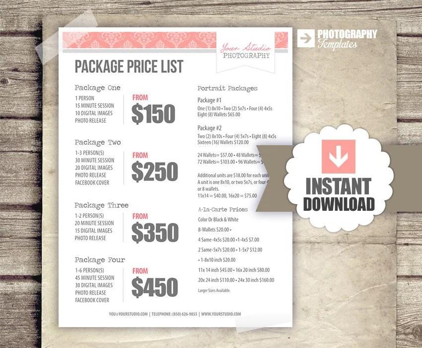 price sheet template - fototango - Price Sheet Template Free
