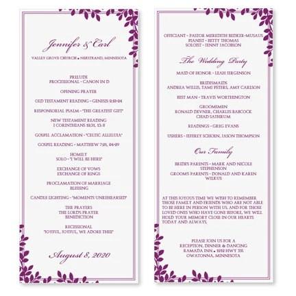 Double Heart Wedding Program Microsoft Word Template Red Wedding - wedding program templates for word