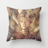 Buddha Pillow Case Decorative Throw Pillow Cover Golden