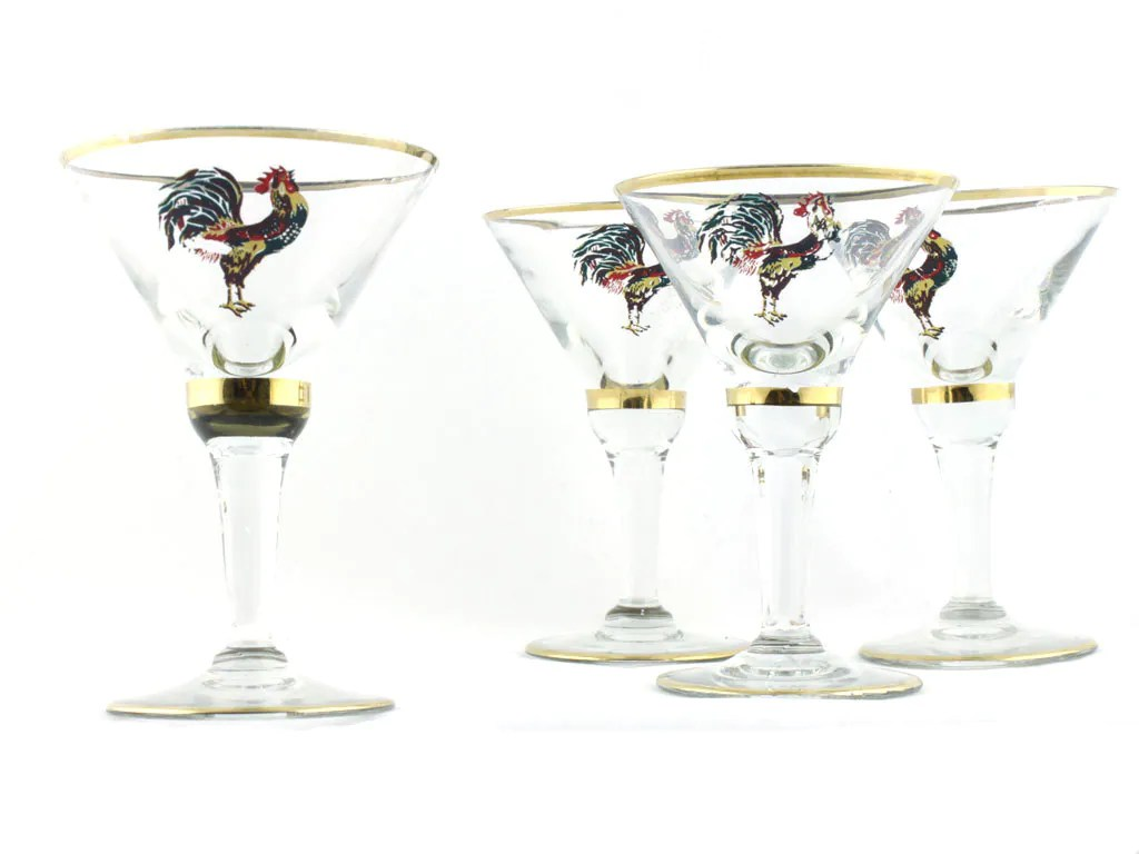Farmhouse Drinking Glasses Vintage Cockerel Drinking Glass Chicken Rooster Farm Martini