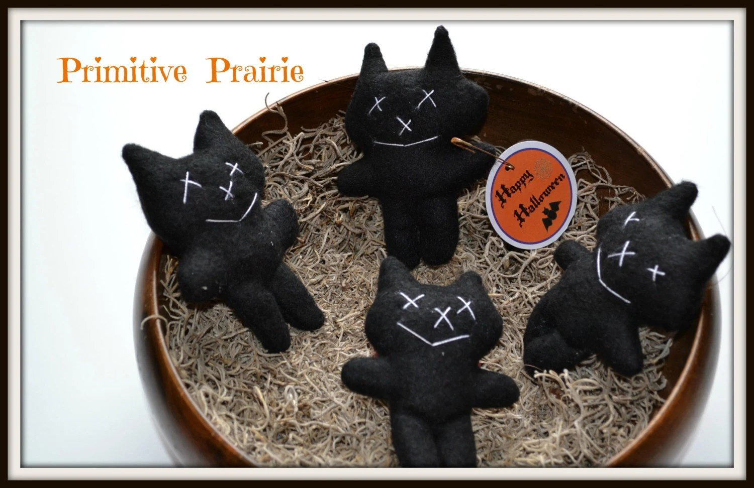 Black Cat Decorations Primitive Fall Halloween Decorations Black Cat By