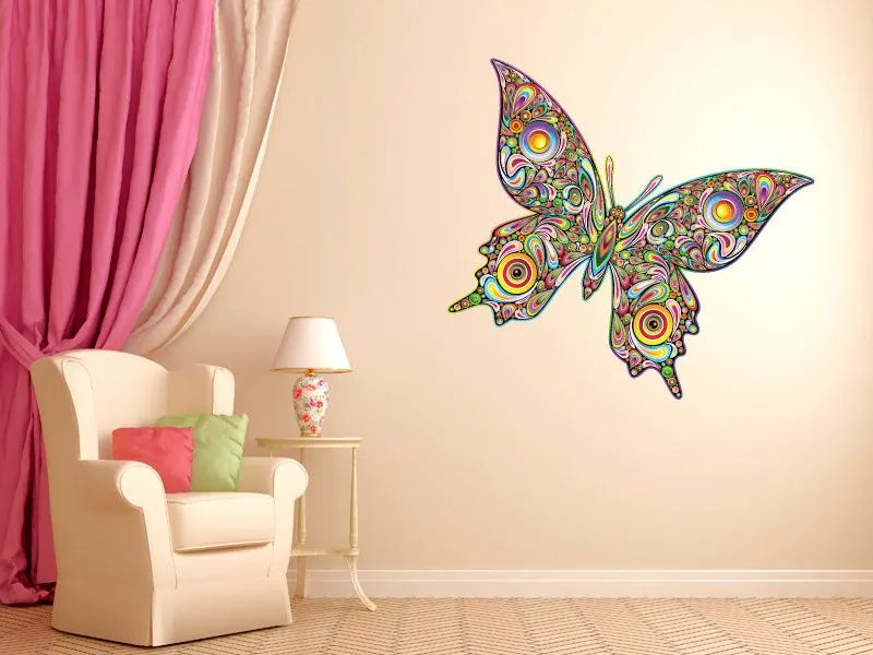Psychedelic butterfly vinyl wall decal graphics by stickerhog
