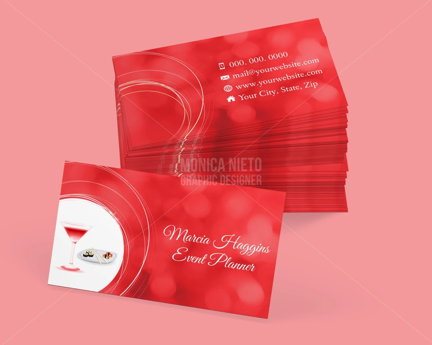 Custom Printable Event Planner Business Card Template by Monica - event card template