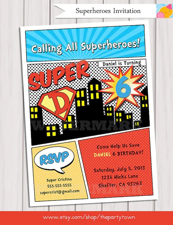 Superhero Birthday Party Invitation Personalized Printable