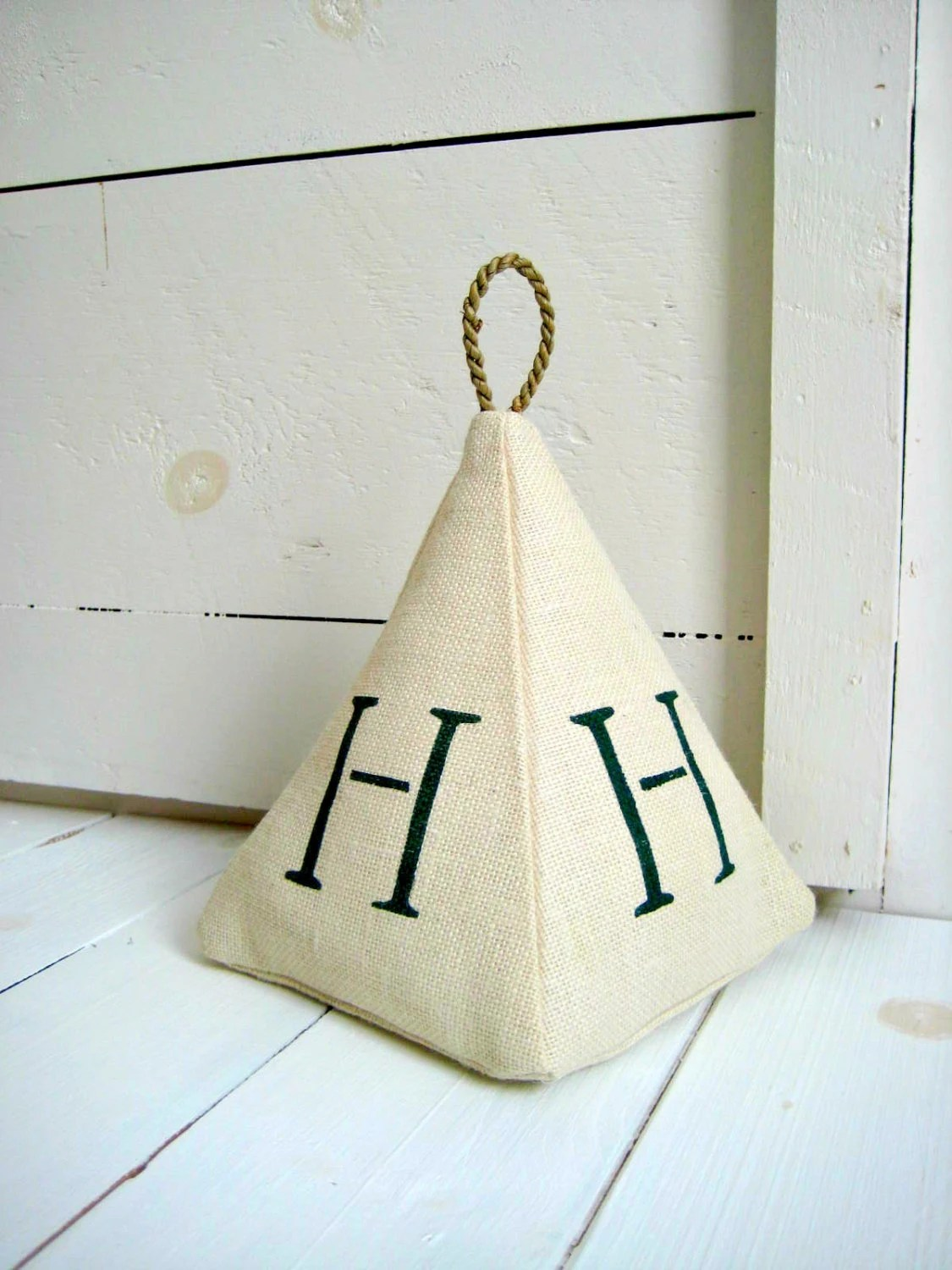 Rustic Door Stopper Monogram Burlap Doorstop Rustic Decor Cottage Chic Fabric