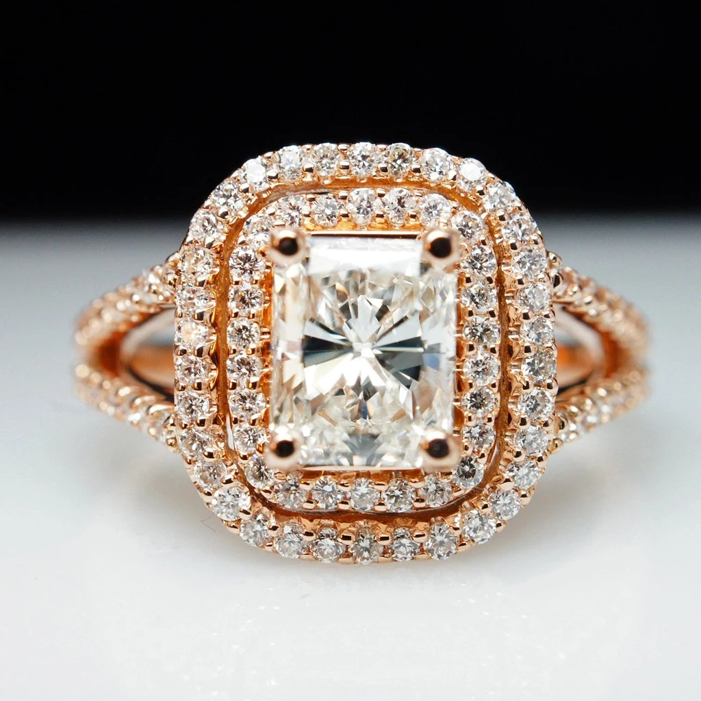 rose gold engagement ring large radiant wedding rings for sale zoom