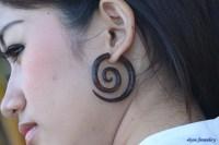 Fake Gauge Earrings Rose Wood Spiral Tribal Wooden Earring