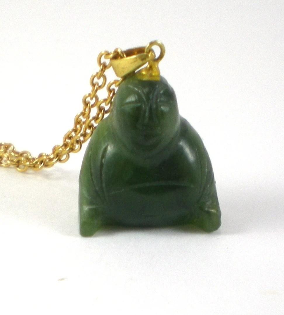 Carved Jade Buddha Necklace Asian Jewelry Oriental Jewelry