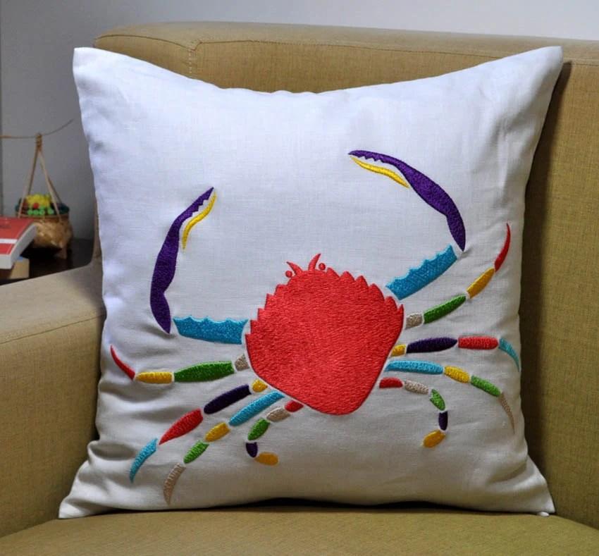Items Similar To Crab Decorative Pillow Beach Pillow